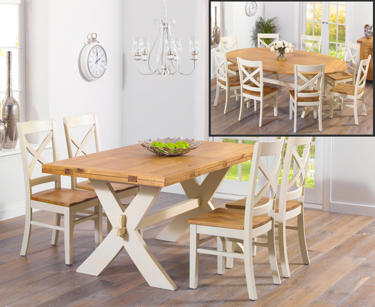An image of Bordeaux 165cm Oak and Cream All Sides Extending Table with Cavendish Chairs - C...