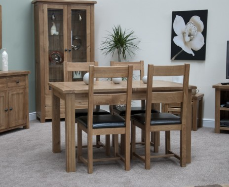 An image of Bramley Oak Extending Dining Table With Chairs - Brown, 4 Chairs