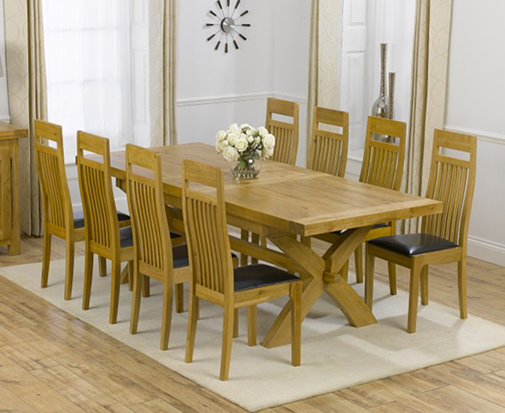 An image of Cheshire 200cm Solid Oak Extending Dining Table with Monaco Chairs