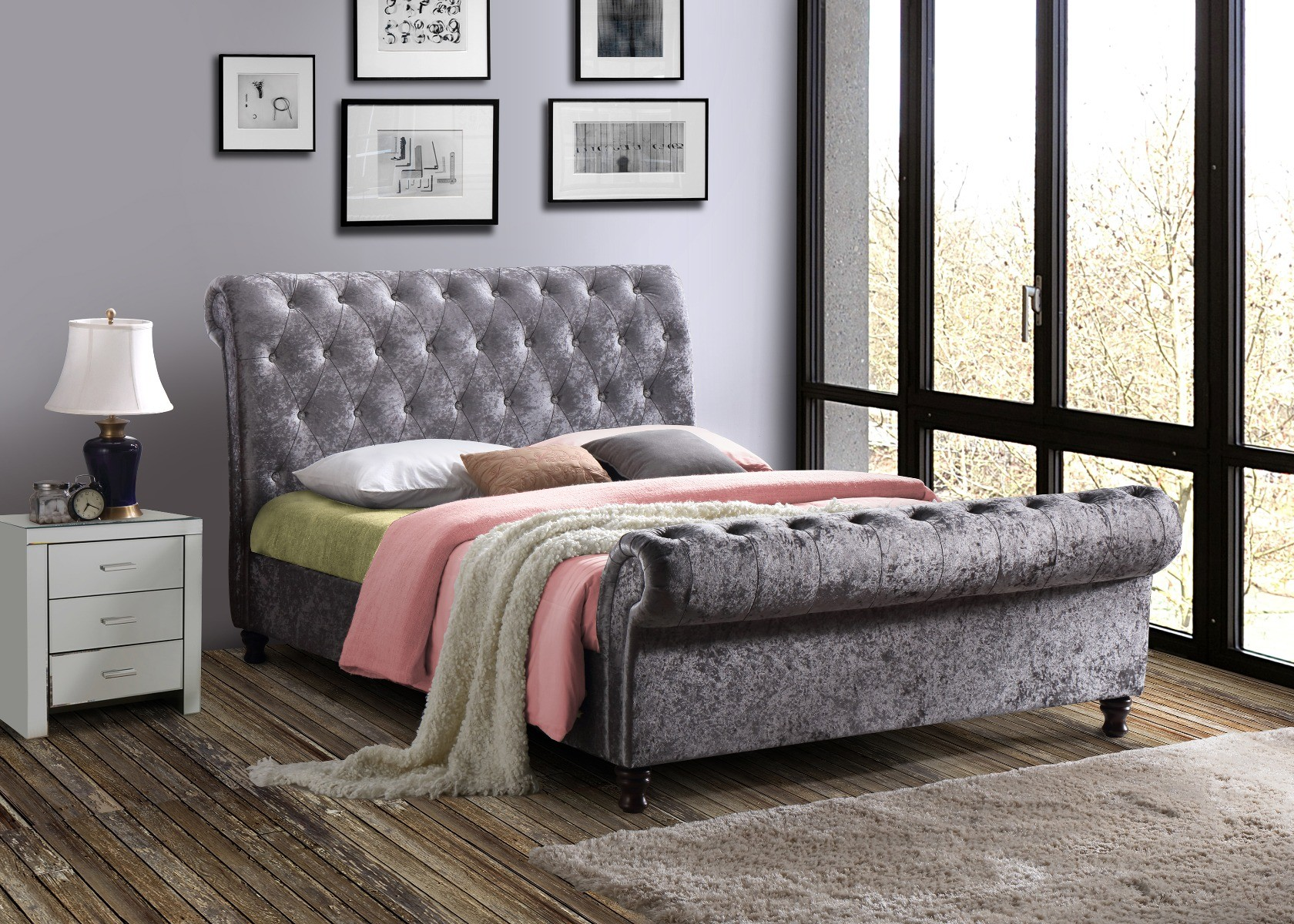 Product photograph showing Arkansas Steel Crushed Velvet King Size Bed