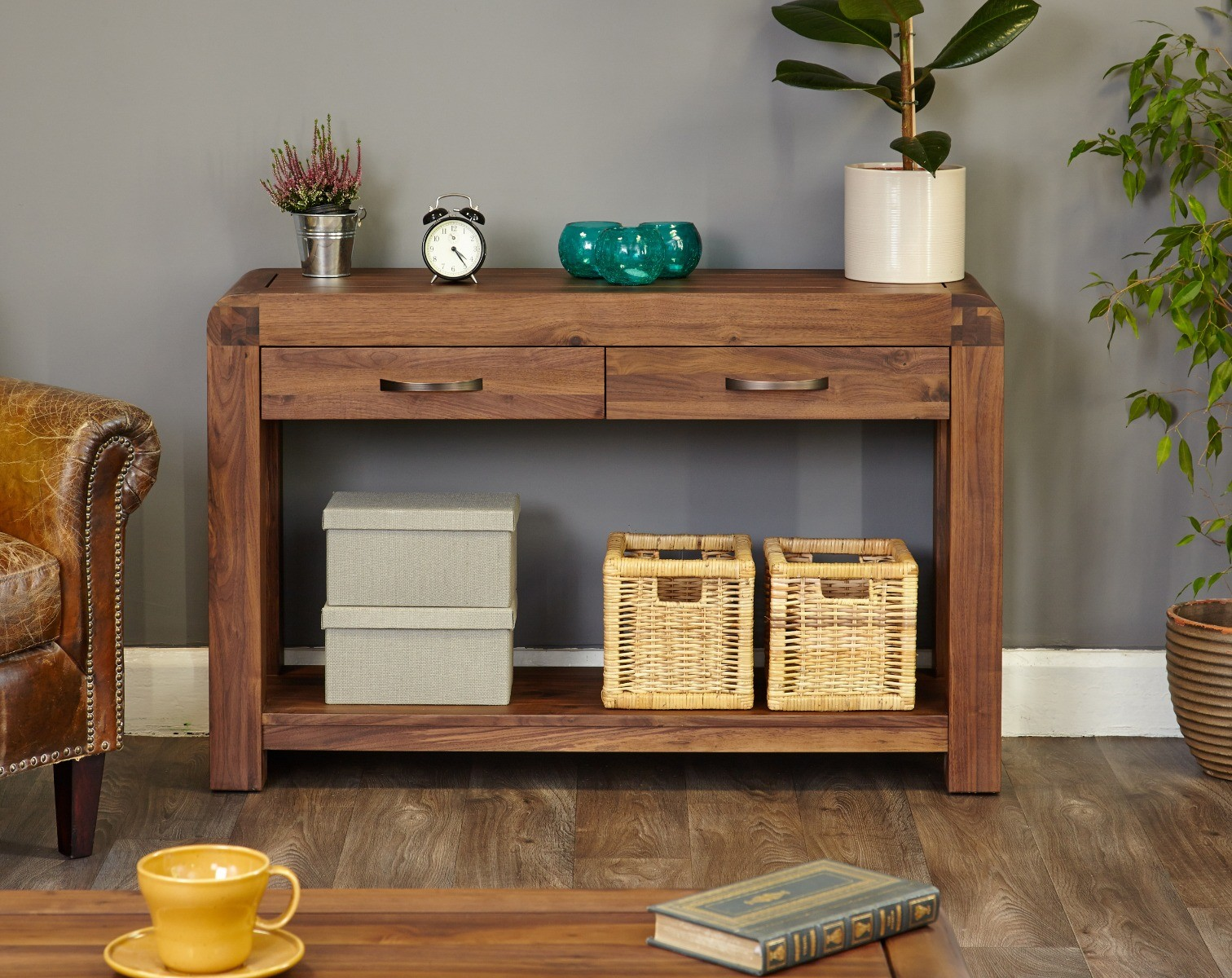 An image of Nishio Solid Walnut Console Table