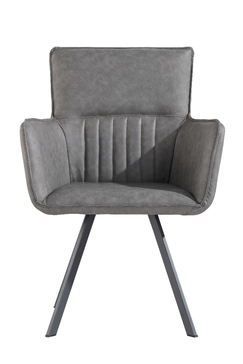 Product photograph showing Poppy Grey Carver Chairs - Grey 2 Chairs