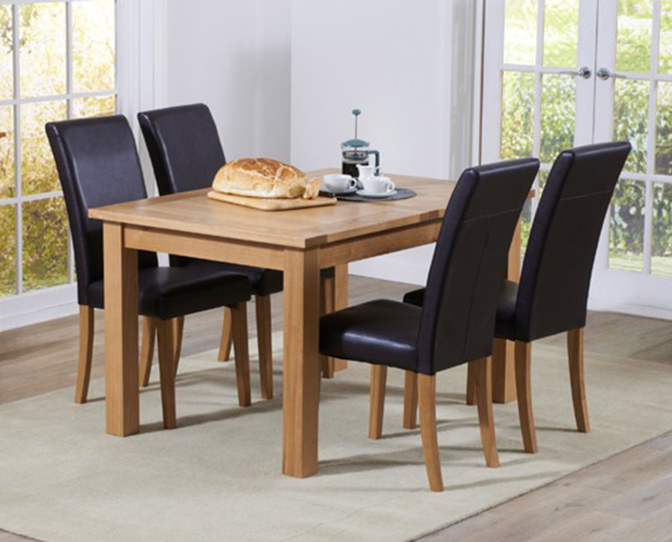 An image of Cheadle 130cm Oak Extending Dining Table with Albany Chairs - Brown, 4 Chairs