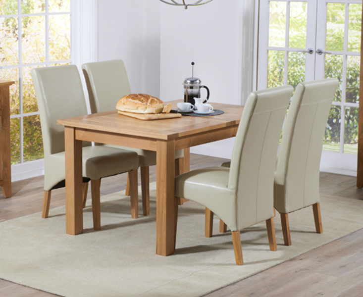 Product photograph showing Cheadle 130cm Oak Extending Dining Table With Cannes Chairs - Grey 4 Chairs