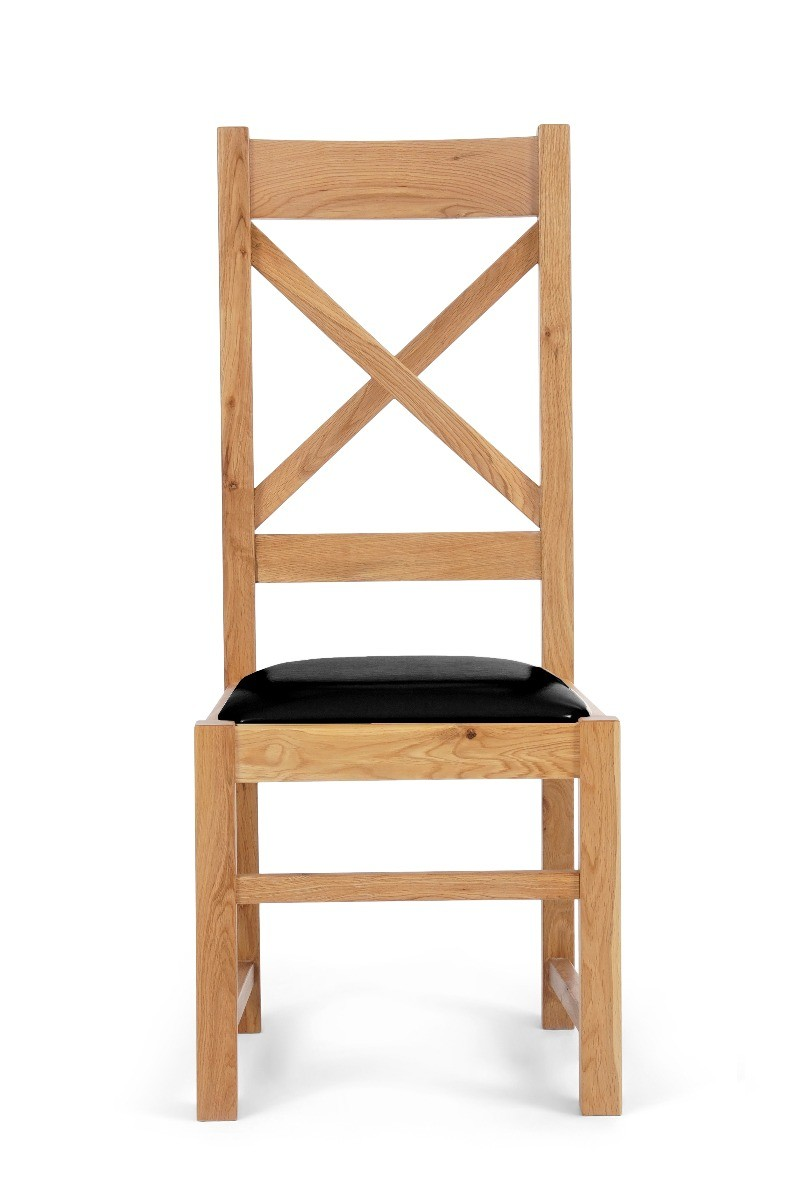 Product photograph showing Cheshire Solid Oak And Black Leather Dining Chairs - Black 2 Chairs