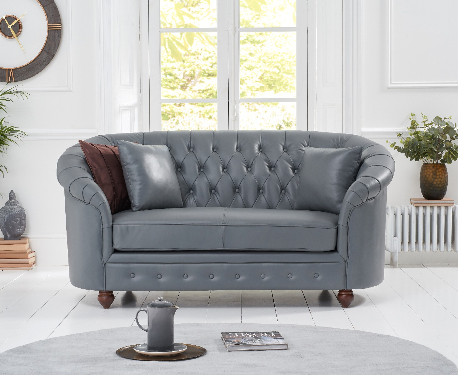 An image of Chloe Grey Leather 2 Seater Sofa