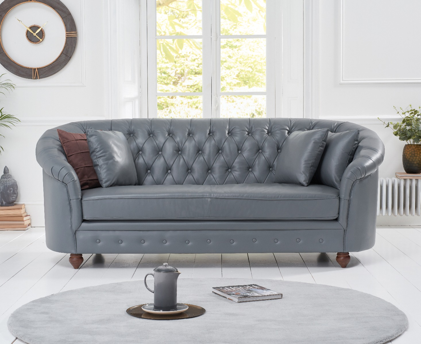 An image of Chloe Grey Leather 3 Seater Sofa