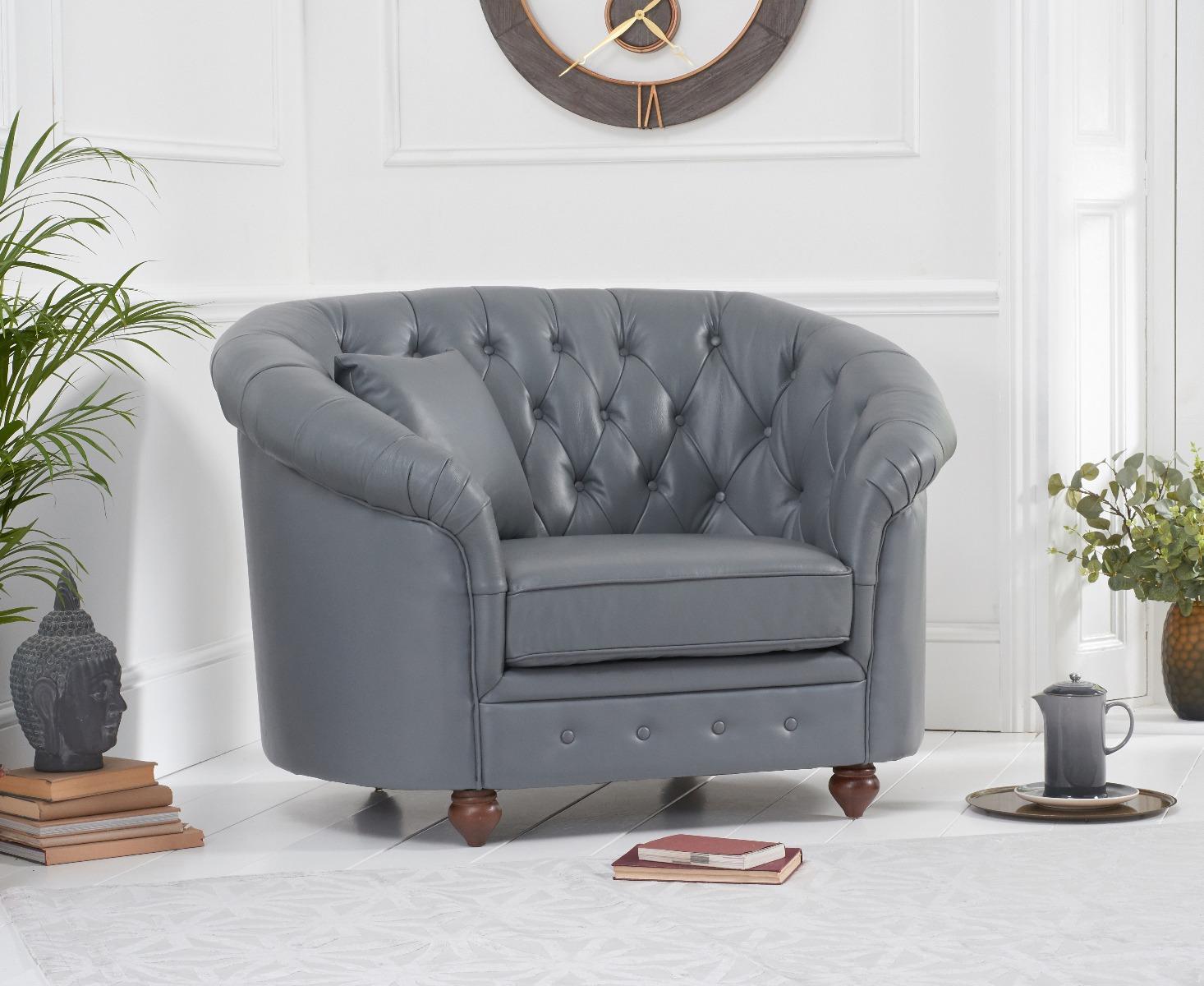 An image of Chloe Grey Leather Armchair