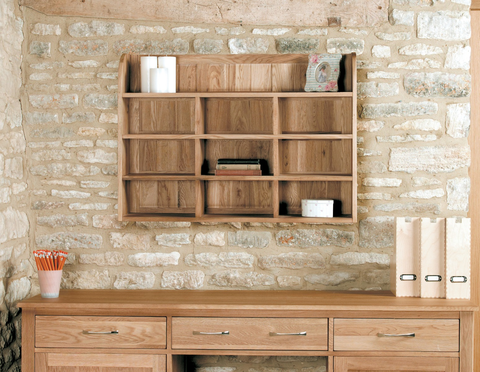 Product photograph showing Rhone Solid Oak Reversible Wall Rack