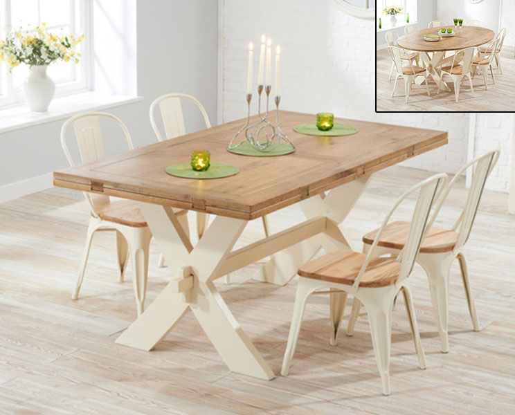 An image of Bordeaux Oak and Cream All Sides Extending Dining Table with Tolix Industrial St...