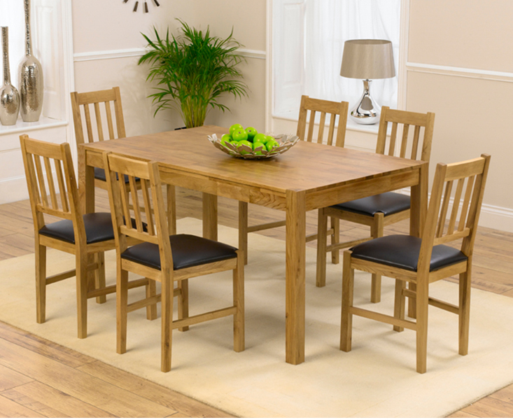 Product photograph showing Oxford 150cm Solid Oak Dining Table With Oxford Chairs