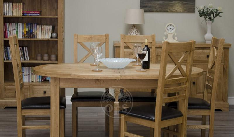 An image of Deluxe Oval Dual Extending Solid Oak Dining Table