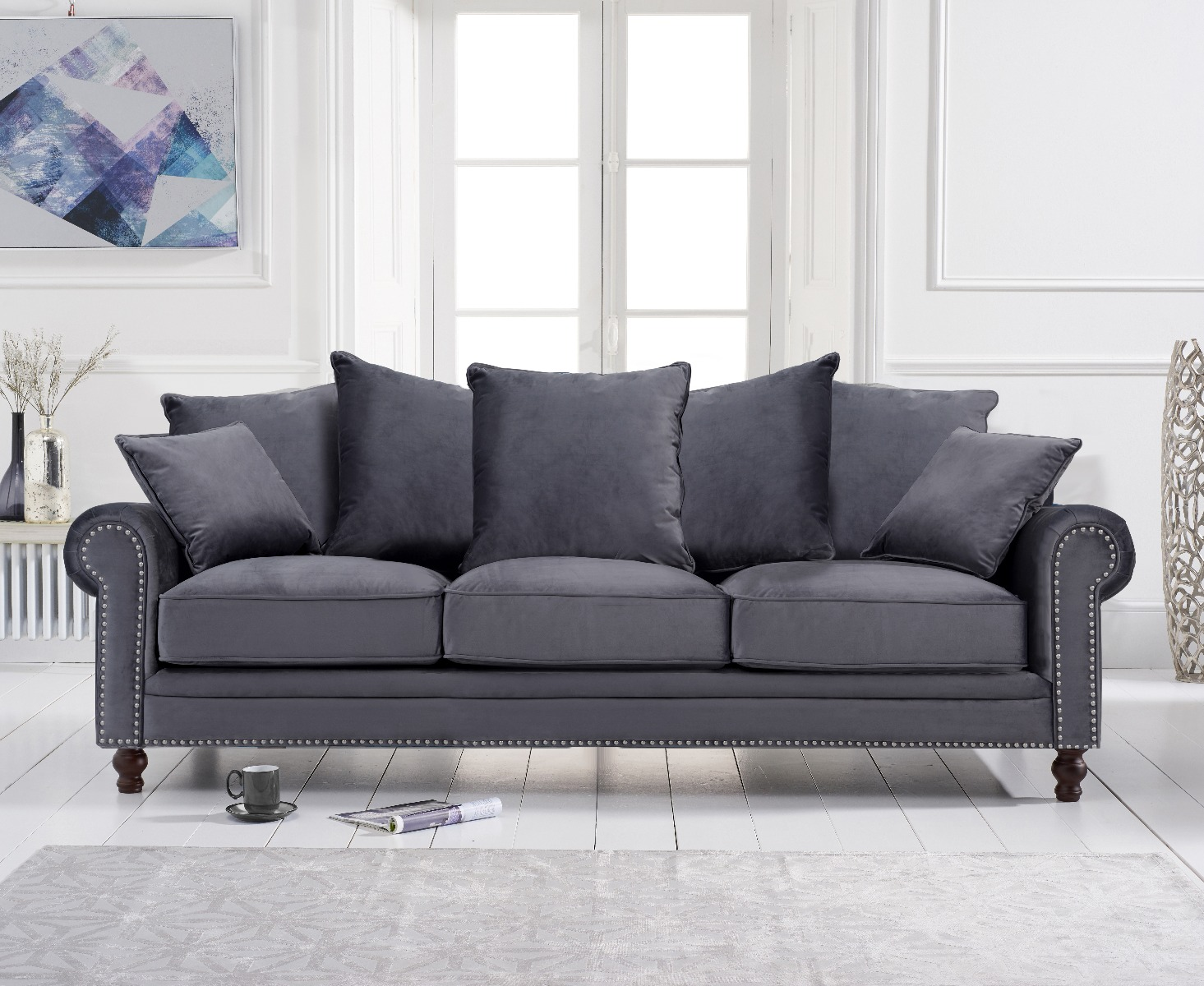 Product photograph showing Eliza Grey Velvet 3 Seater Sofa