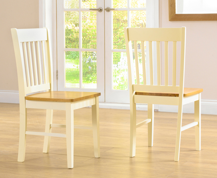 An image of Genoa Cream Dining Chairs - Oak and Cream, 2 Chairs