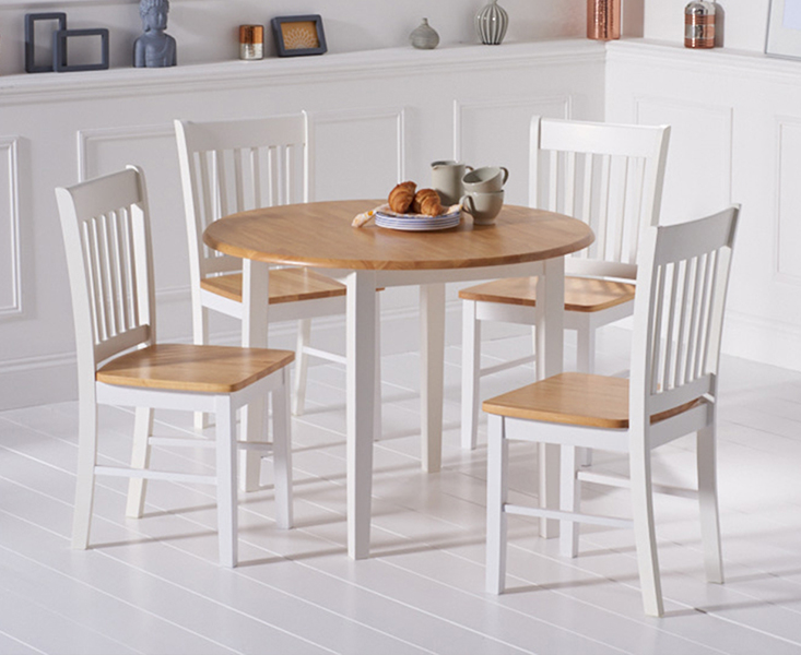 Product photograph showing Genoa Oak And White 100cm Drop Leaf Extending Dining Table And Chairs - Oak And White 4 Chairs