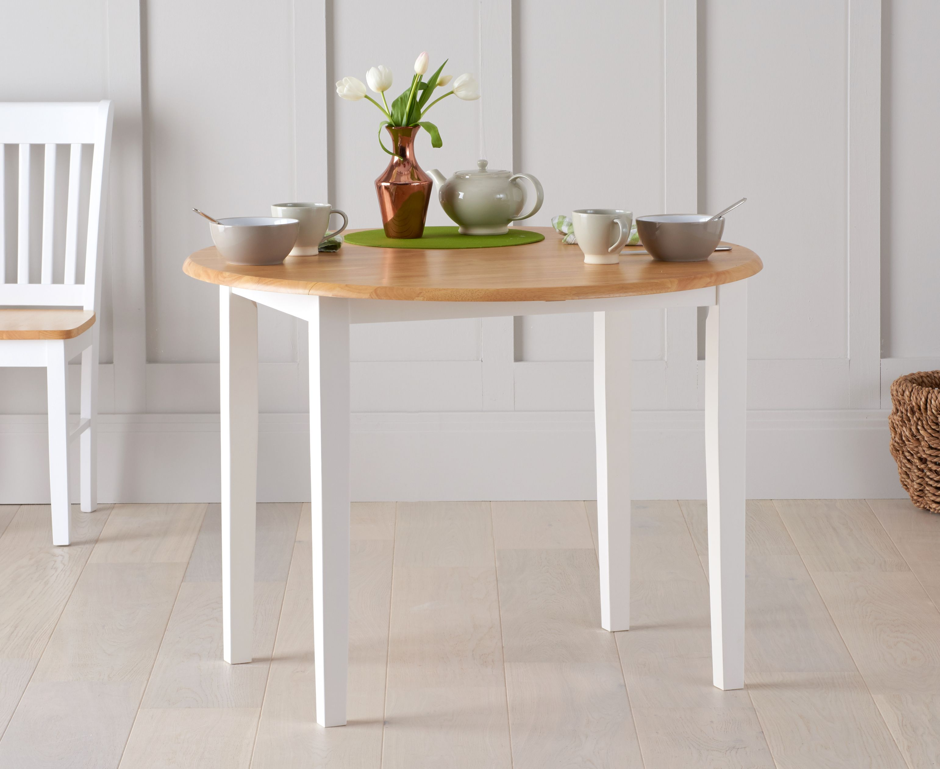 An image of Genoa Oak and White 100cm Drop Leaf Extending Dining Table