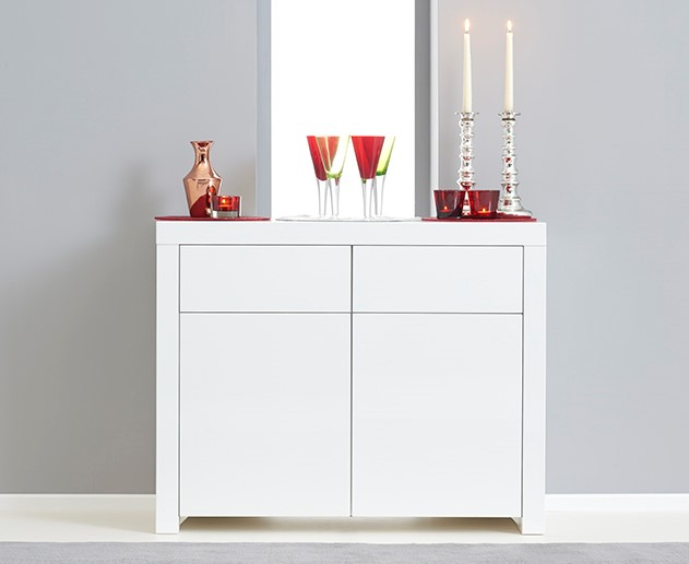 Hampstead 2 Door 2 Drawer White High Gloss Sideboard