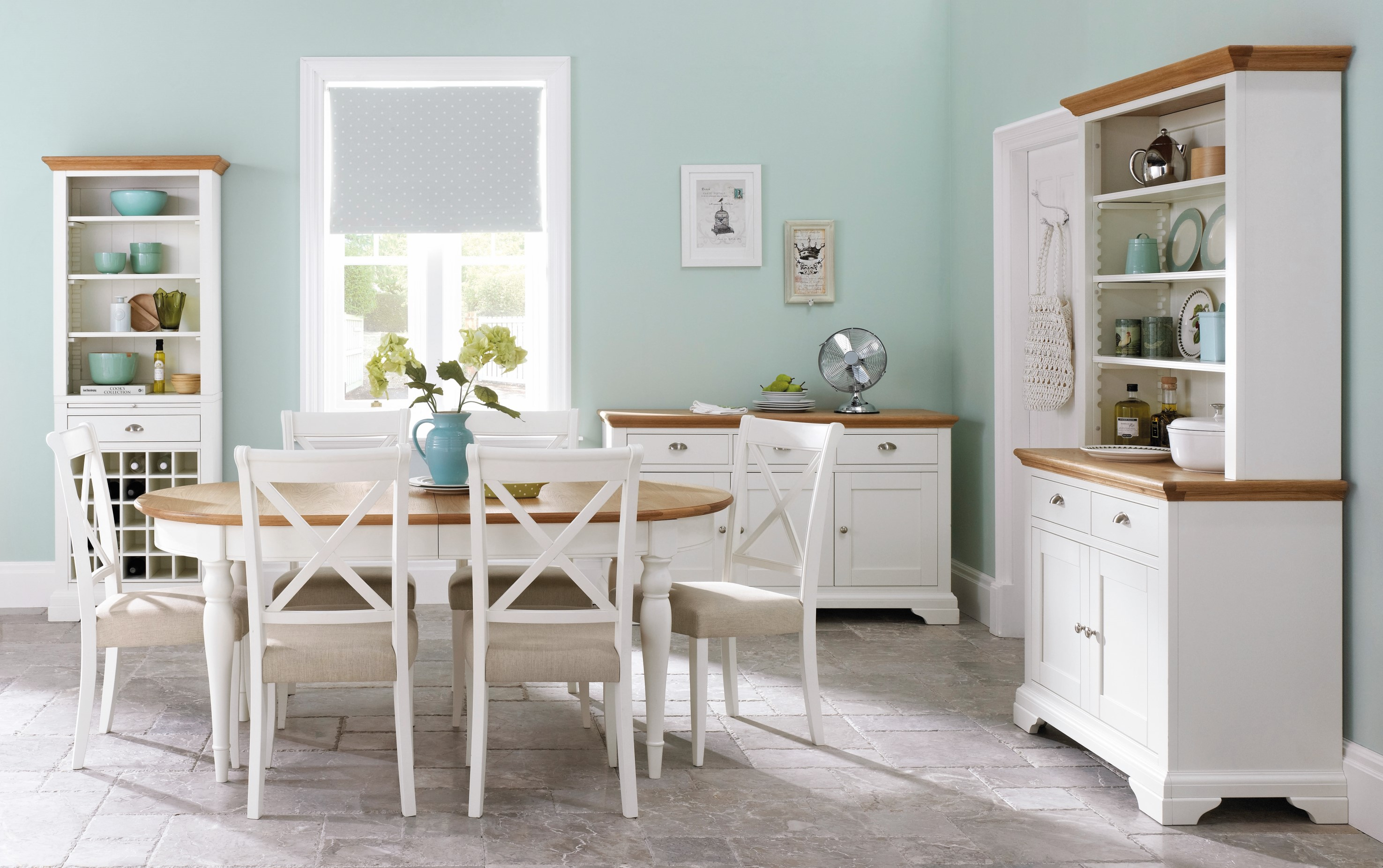 An image of Hampstead Oak & Ivory 120cm Round Extending Dining Table with four Upholstered C...
