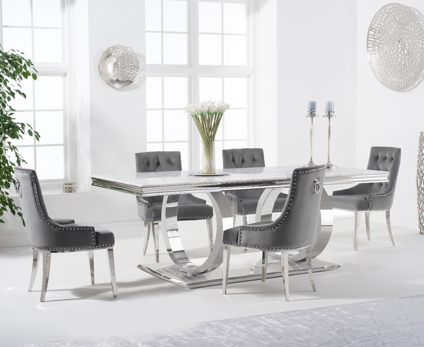 Product photograph showing Harlow 200cm Marble Dining Table With Talia Velvet Chairs - Grey 6 Chairs