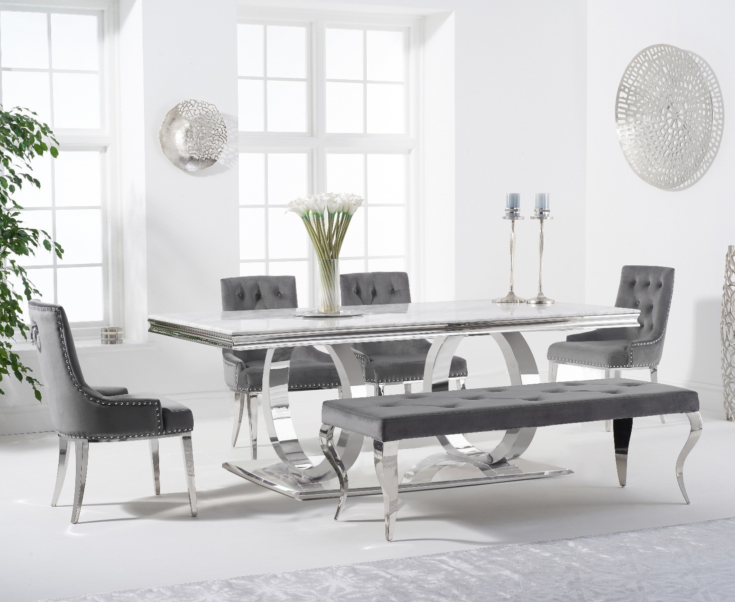 Product photograph showing Harlow 200cm Marble Dining Table With Talia Velvet Chairs And Fitzrovia Bench - Grey 2 Chairs