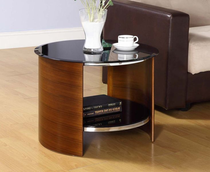 Product photograph showing Corsair Walnut Round Side Table