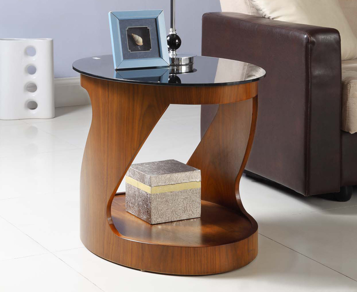 Product photograph showing Corsair Walnut Oval Side Table