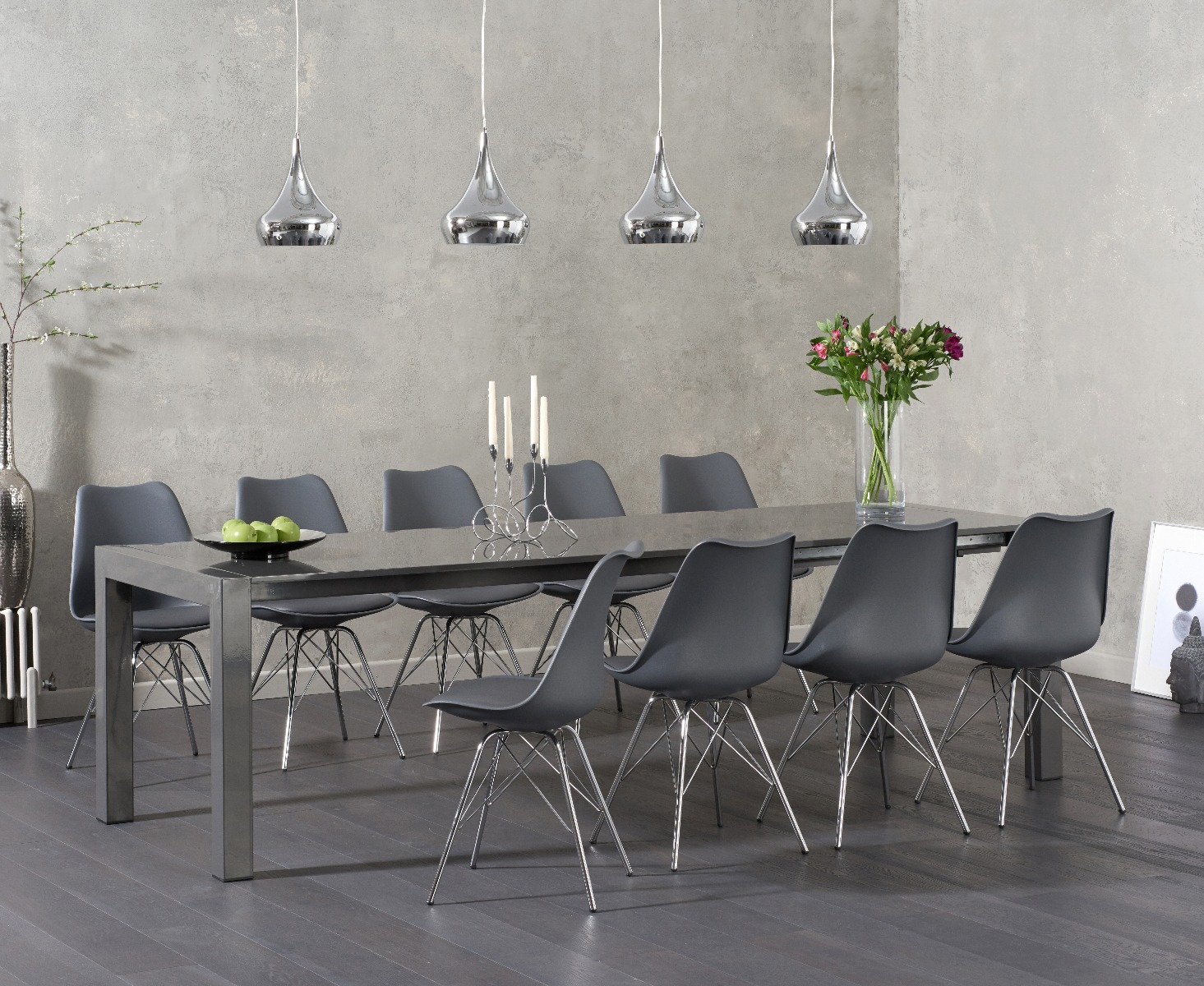 Product photograph showing Joseph Dark Grey High Gloss Extending Table With Celine Chrome Leg Chairs