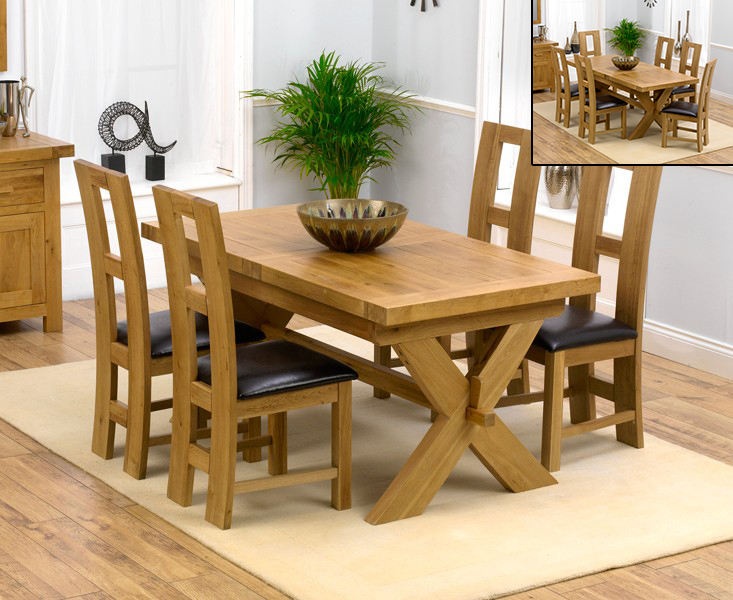 An image of Bordeaux 160cm Solid Oak Extending Dining Table with Louis Chairs - Brown, 4 Cha...