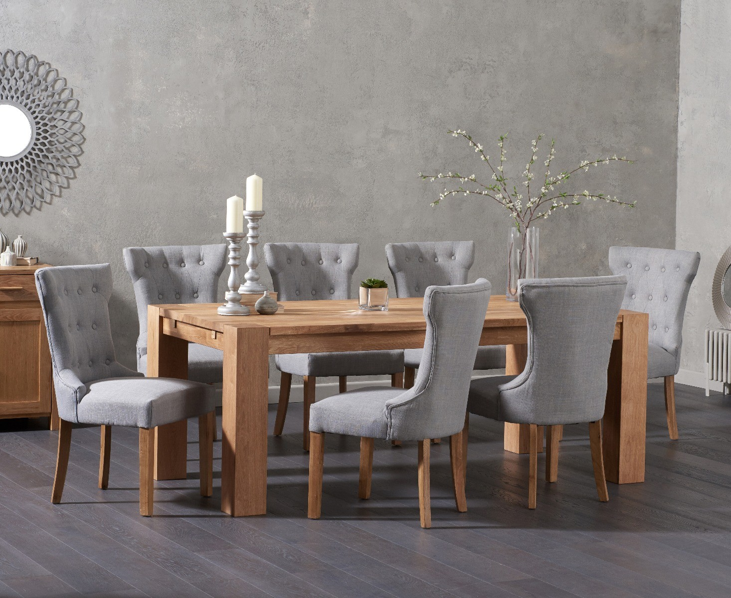 Ex-display Madrid 200cm Solid Oak Dining Table With 4 GREY Camille Fabric Chairs