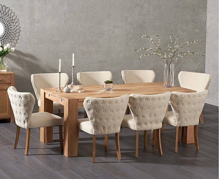 Ex-display Madrid 200cm Solid Oak Dining Table with 4 GREY Isobel Fabric Chairs