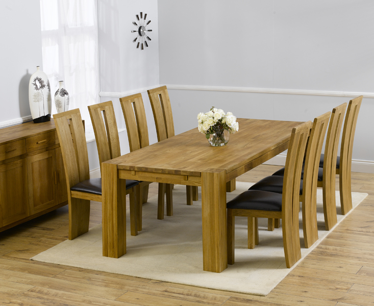 Product photograph showing Madrid 300cm Solid Oak Dining Table With Montreal Chairs - Black 8 Chairs