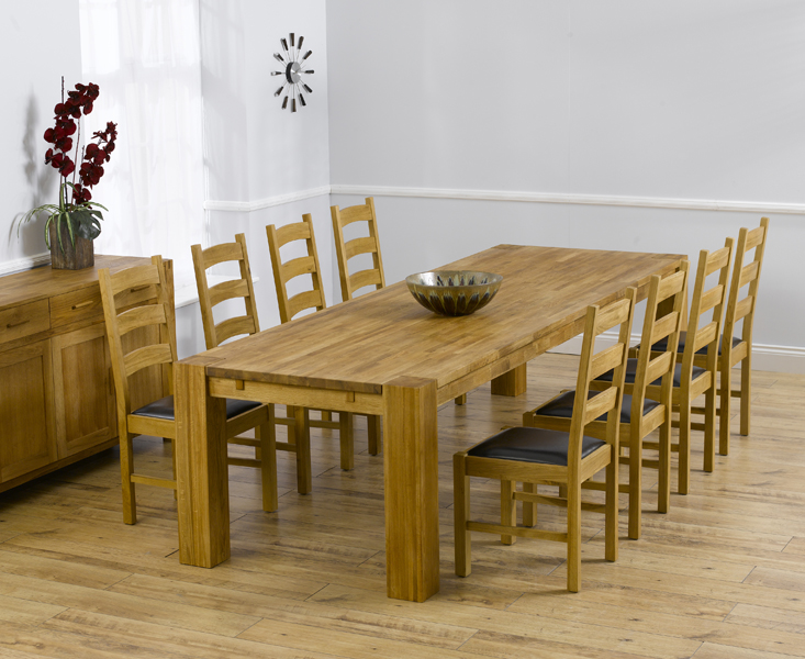 Product photograph showing Madrid 300cm Solid Oak Dining Table With Vermont Chairs - Timber 8 Chairs