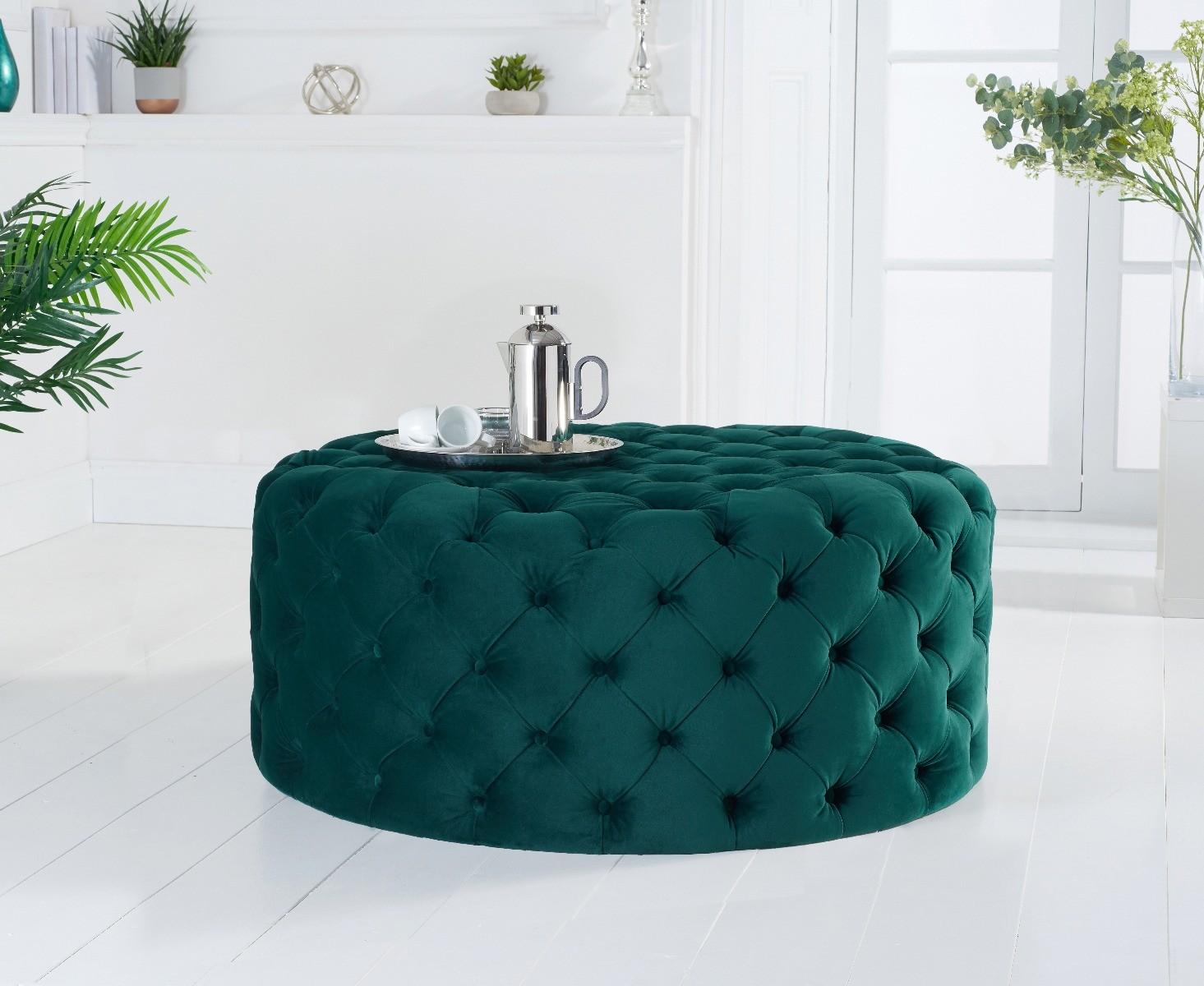 Milano Green Velvet Round Footstool