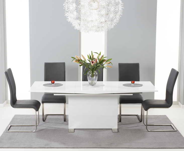 Product photograph showing Modena 150cm White High Gloss Extending Dining Table With Malaga Chairs - Grey 4 Chairs
