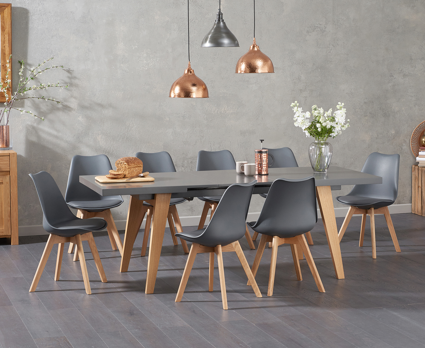 An image of Nicole Extending Grey Dining Table with Duke Faux Leather Chairs - White, 4 Chai...