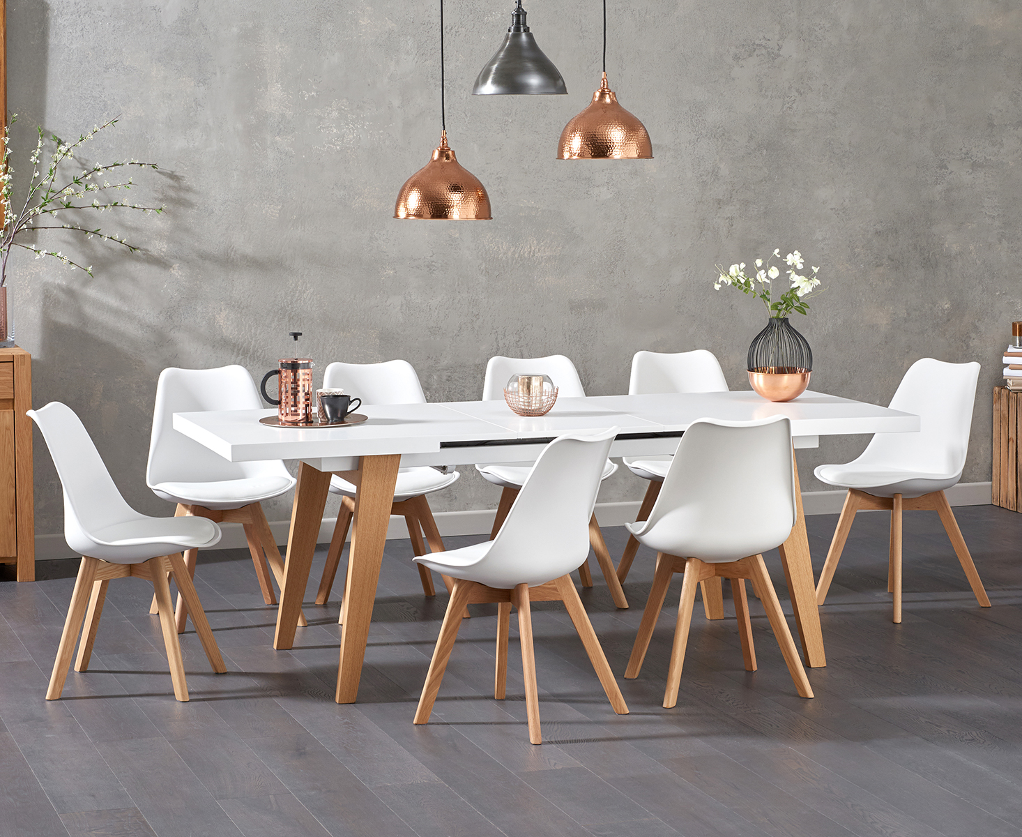An image of Nicole Extending White Dining Table with Duke Faux Leather Chairs - White, 4 Cha...