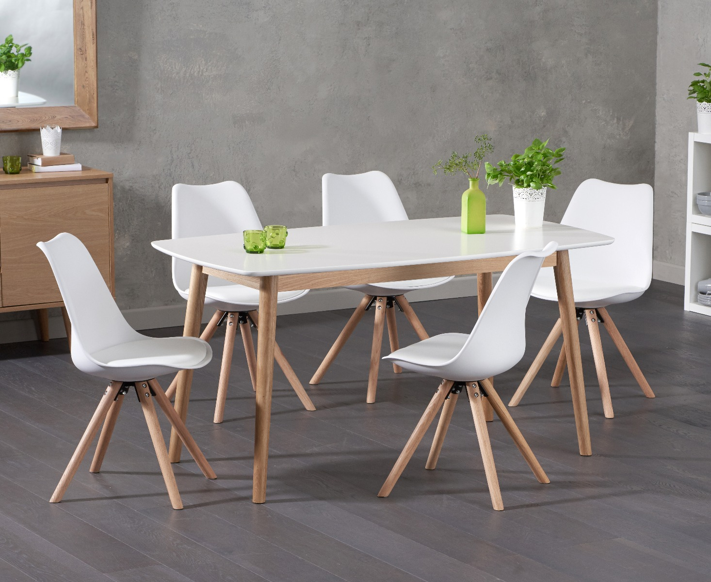 Product photograph showing Nordic 150cm Oak And White Dining Table With Oscar Faux Leather Round Leg Chairs