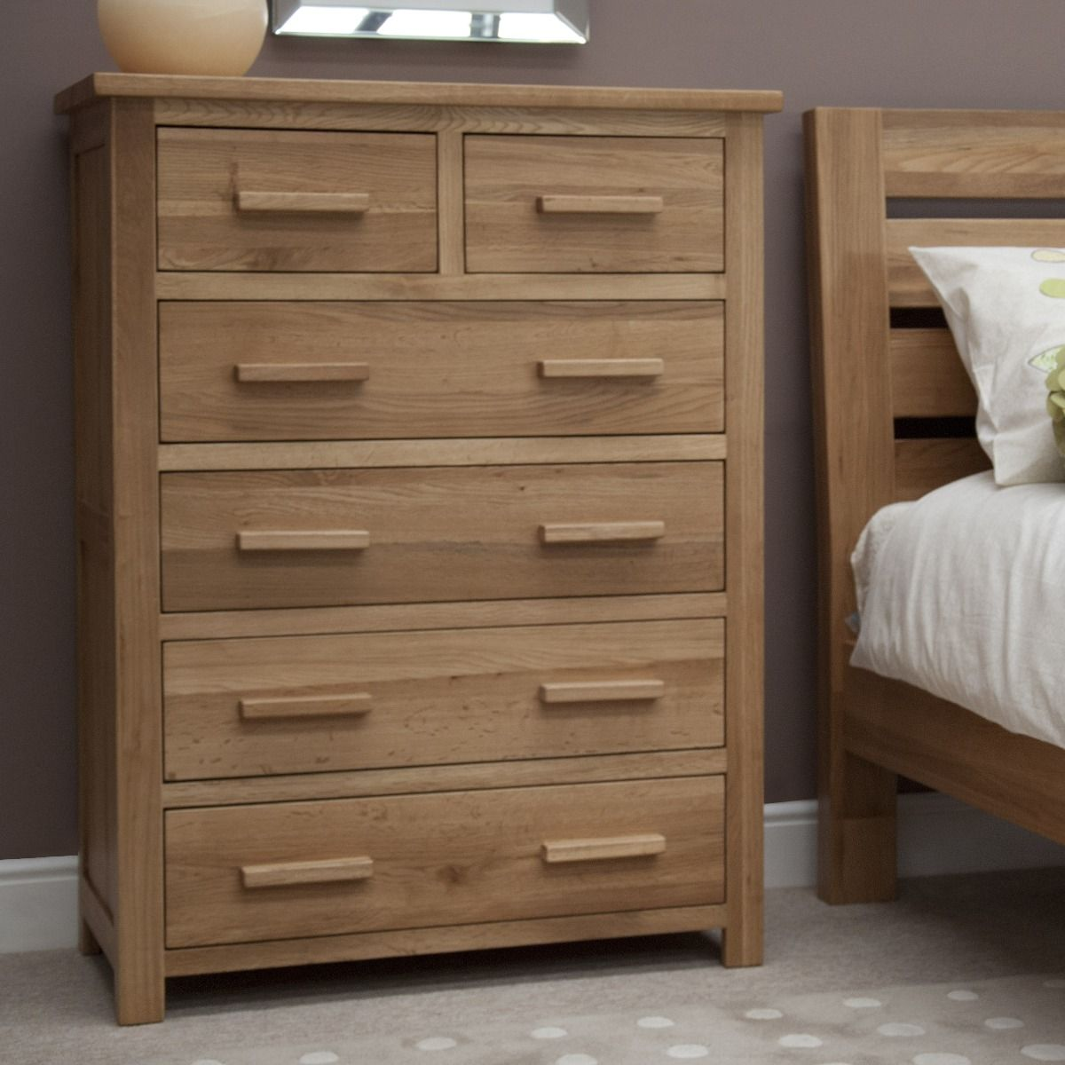 Product photograph showing Rohan Oak 2 Over 4 Chest Of Drawers