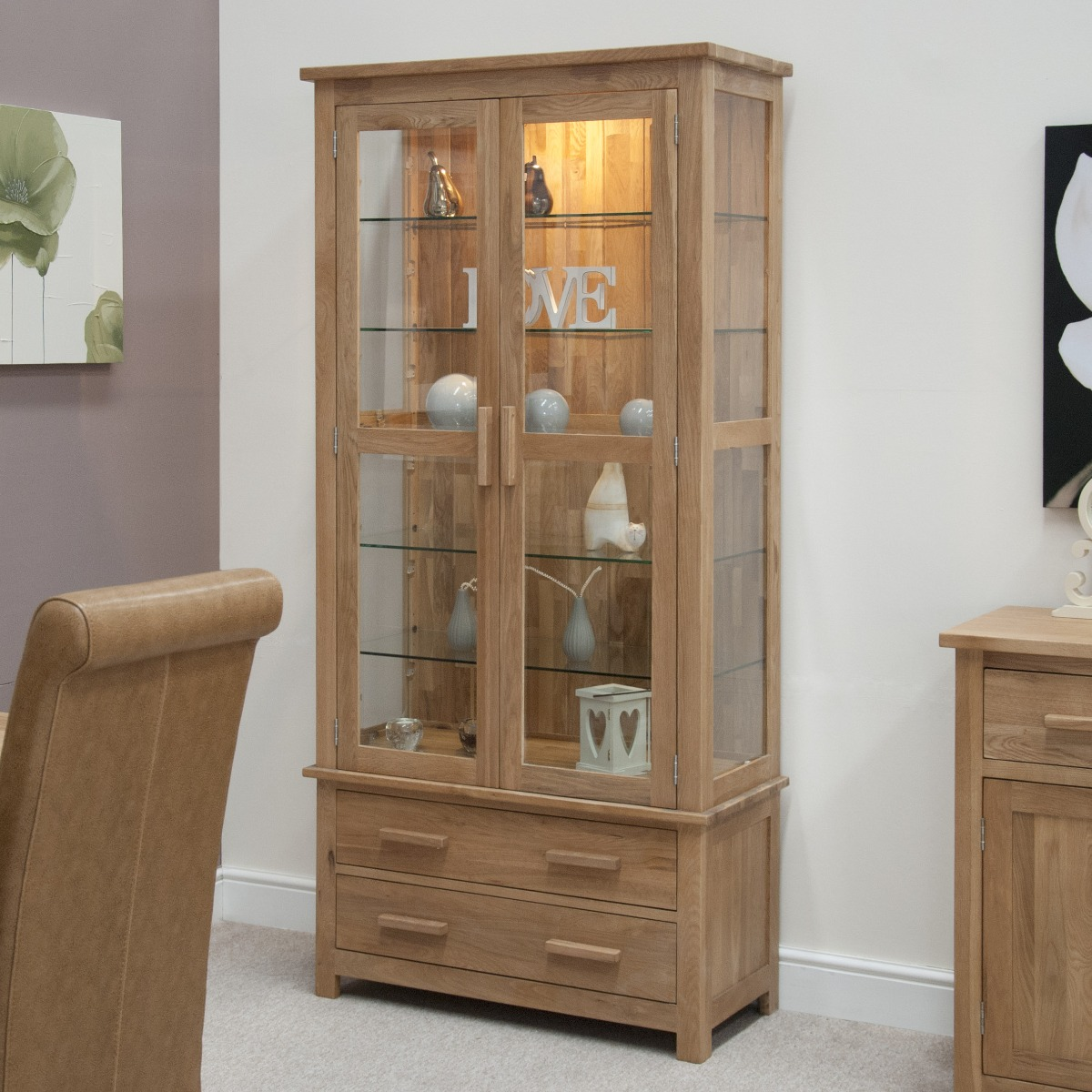 An image of Rohan Oak and Glass Display Cabinet
