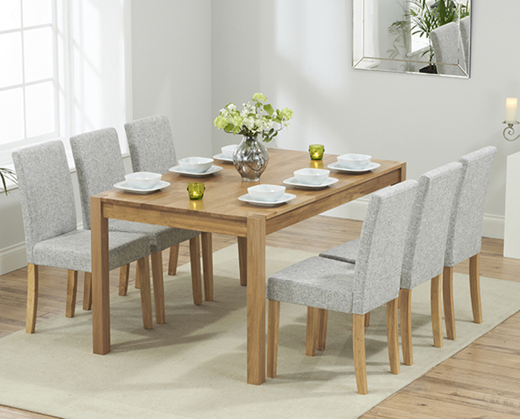 An image of Oxford 150cm Solid Oak Dining Table with Mia Fabric Chairs