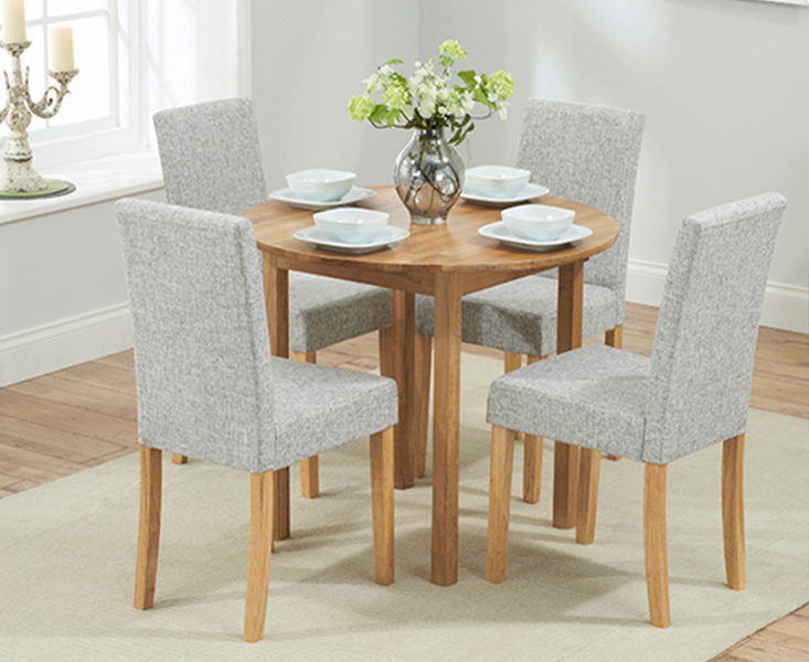 Product photograph showing Oxford 90cm Solid Oak Extending Dining Table With Mia Chairs - Black 2 Chairs