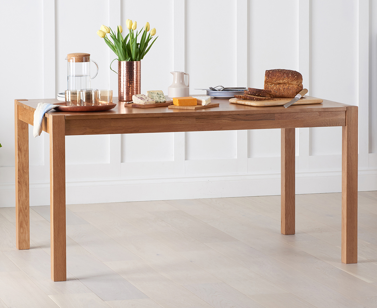 Product photograph showing Oxford Solid Oak 150cm Dining Table