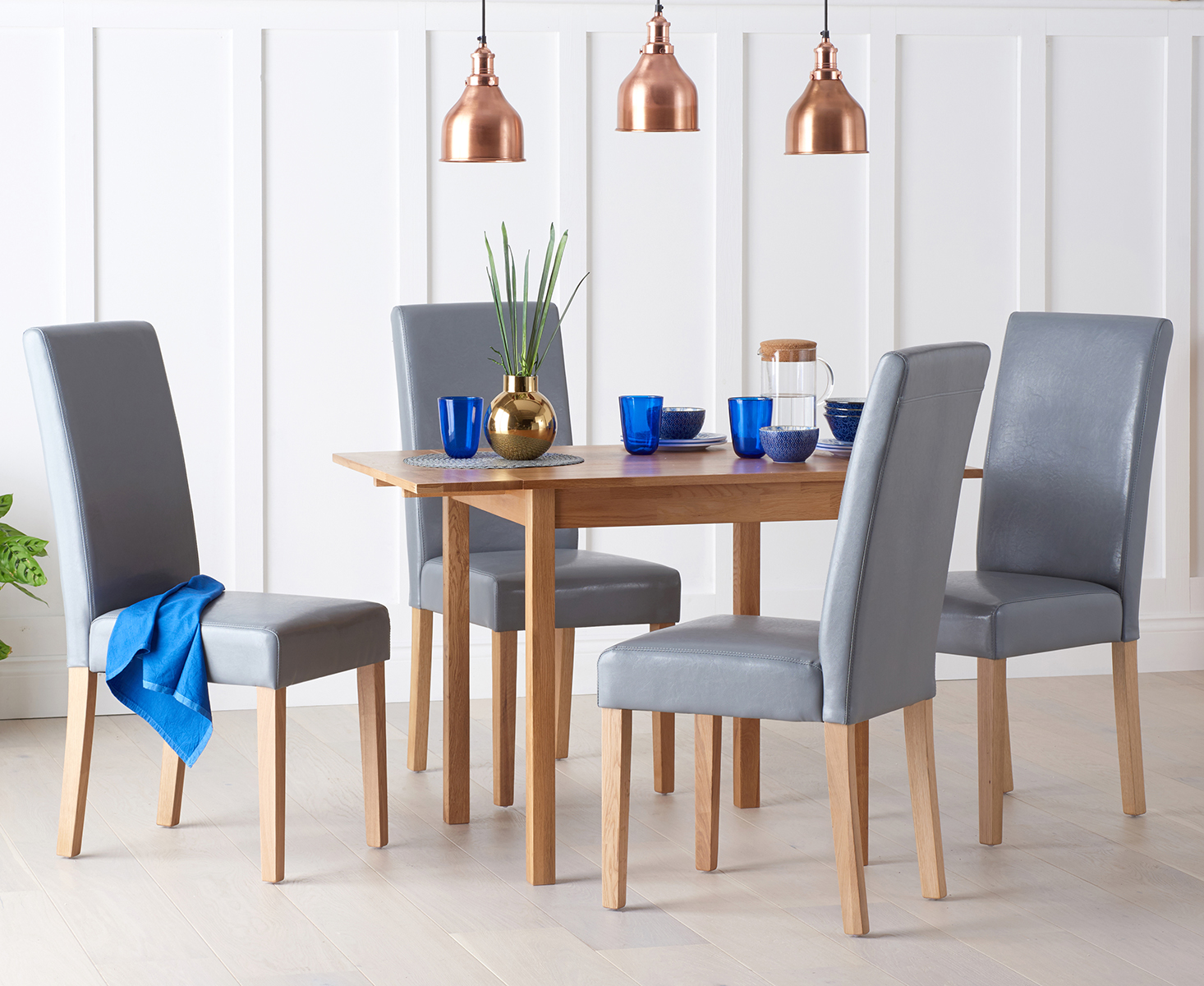 An image of Oxford 70cm Solid Oak Extending Dining Table with Albany Grey Chairs - Grey, 2 C...