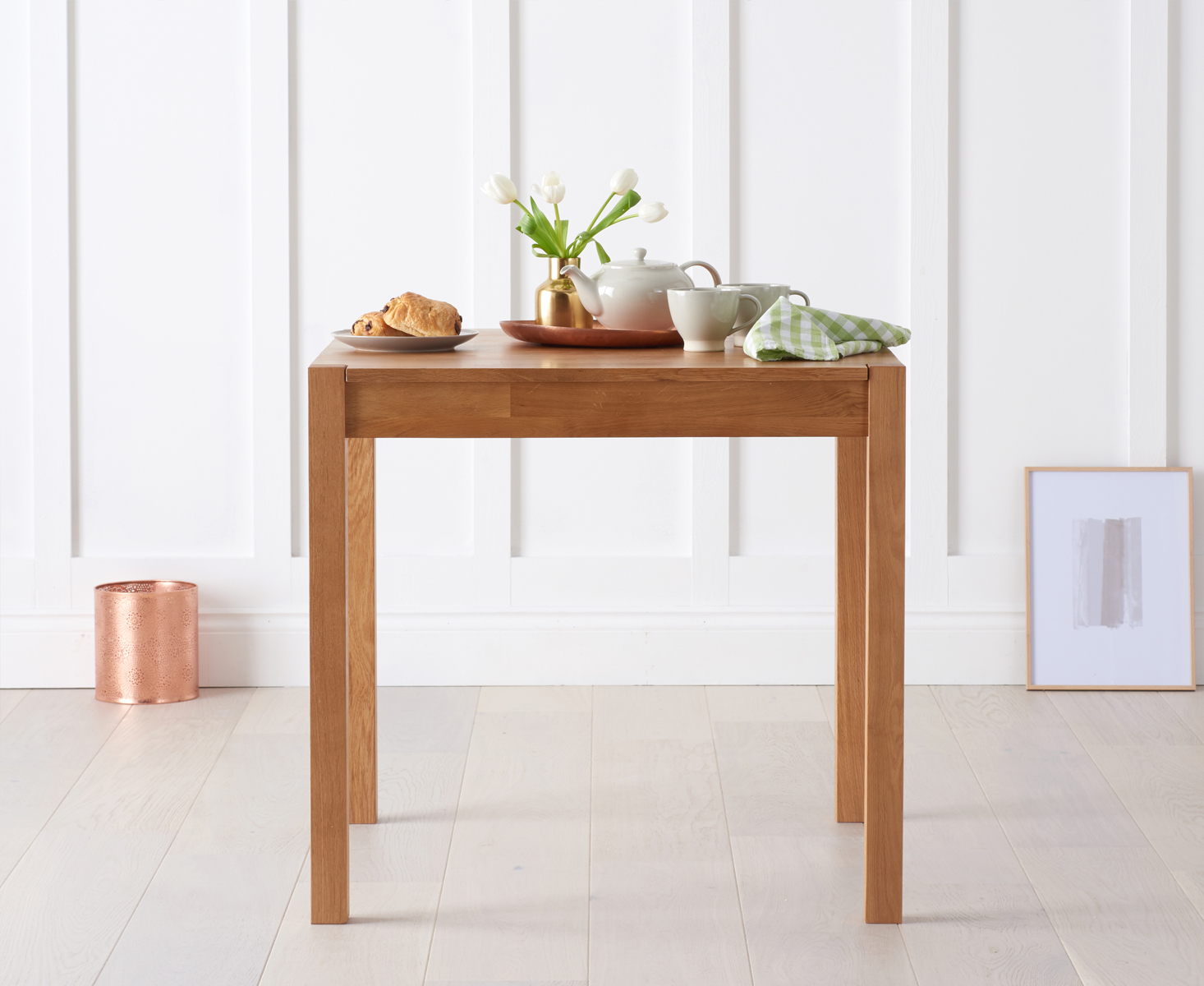 Product photograph showing Oxford Solid Oak 80cm Dining Table
