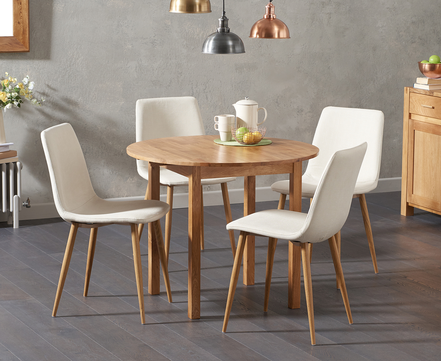 Product photograph showing Oxford 90cm Solid Oak Drop Leaf Extending Dining Table With Helsinki Fabric Chairs