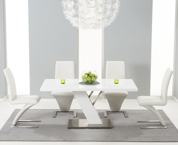 Product photograph showing Palma 160cm White High Gloss Dining Table With Hampstead Z Chairs