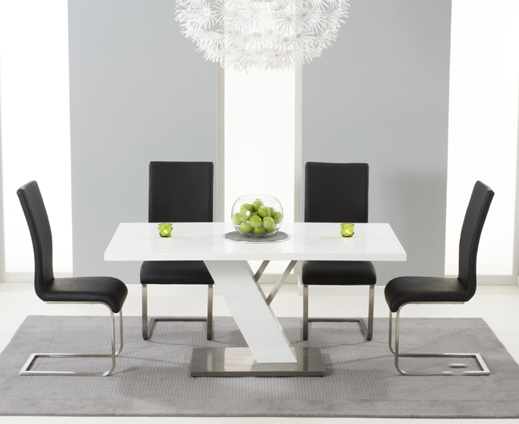 Product photograph showing Palma 160cm White High Gloss Dining Table With Malaga Chairs - Black 4 Chairs