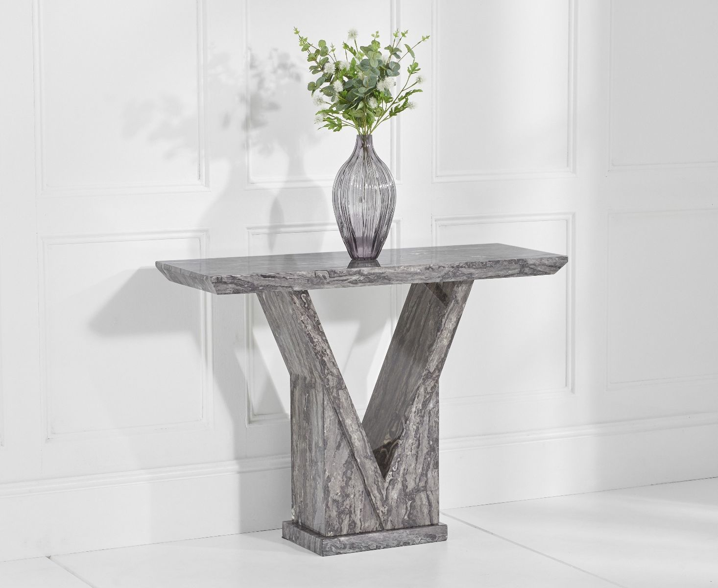 An image of Mocha Grey Marble Console Table