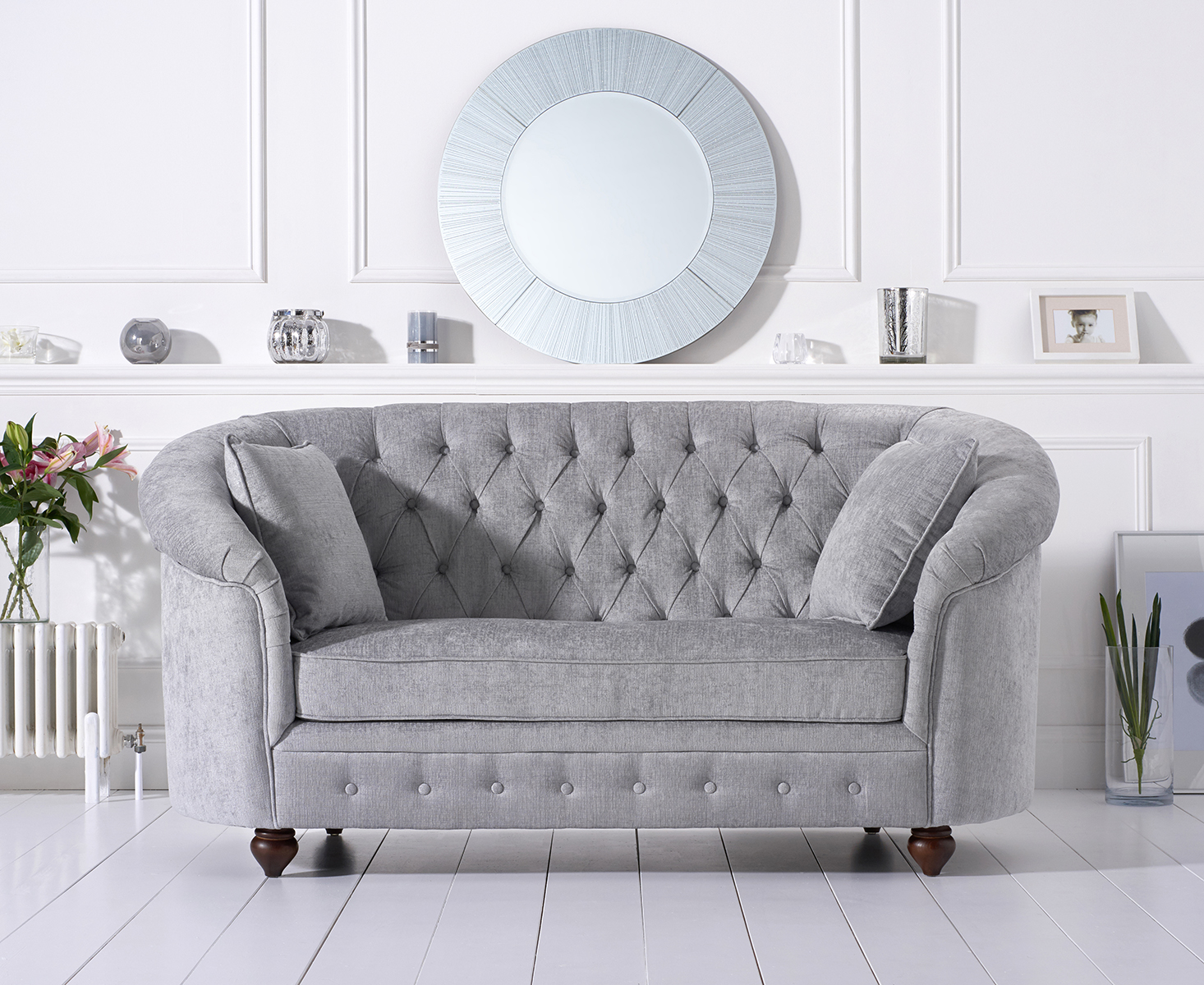 Photo of Chloe chesterfield grey plush fabric two-seater sofa