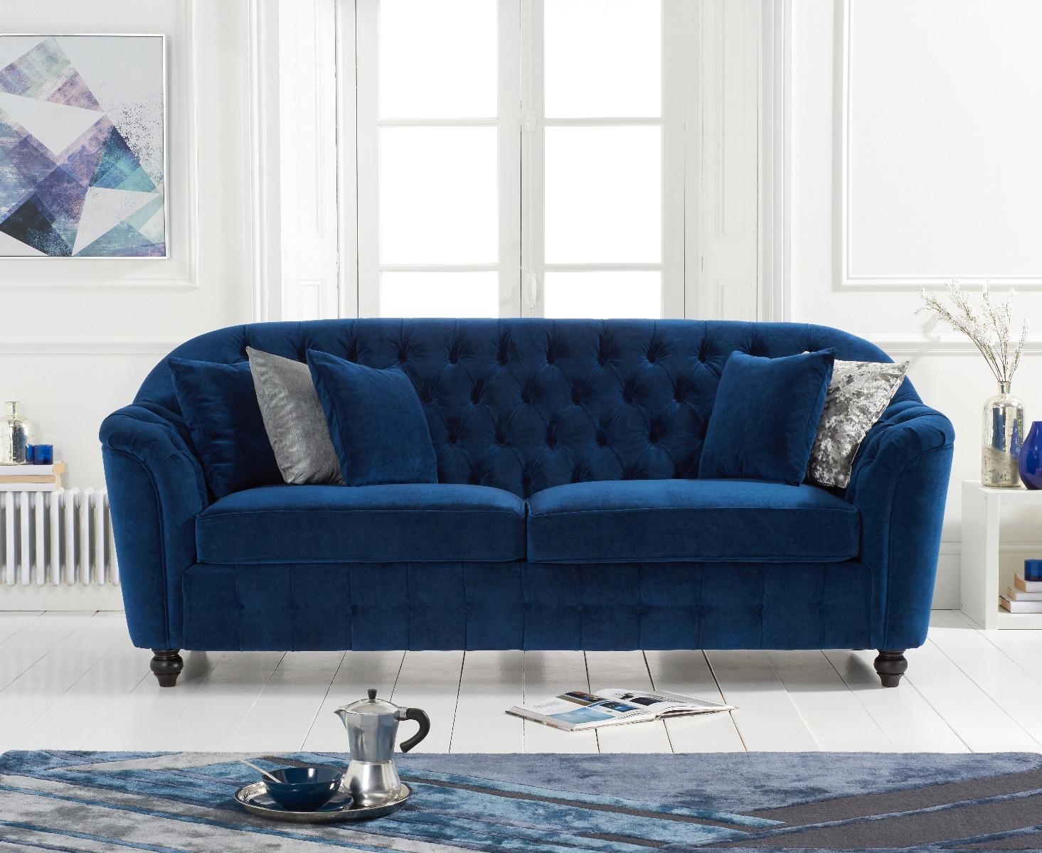 Product photograph showing Christopher Blue Velvet 3 Seater Sofa